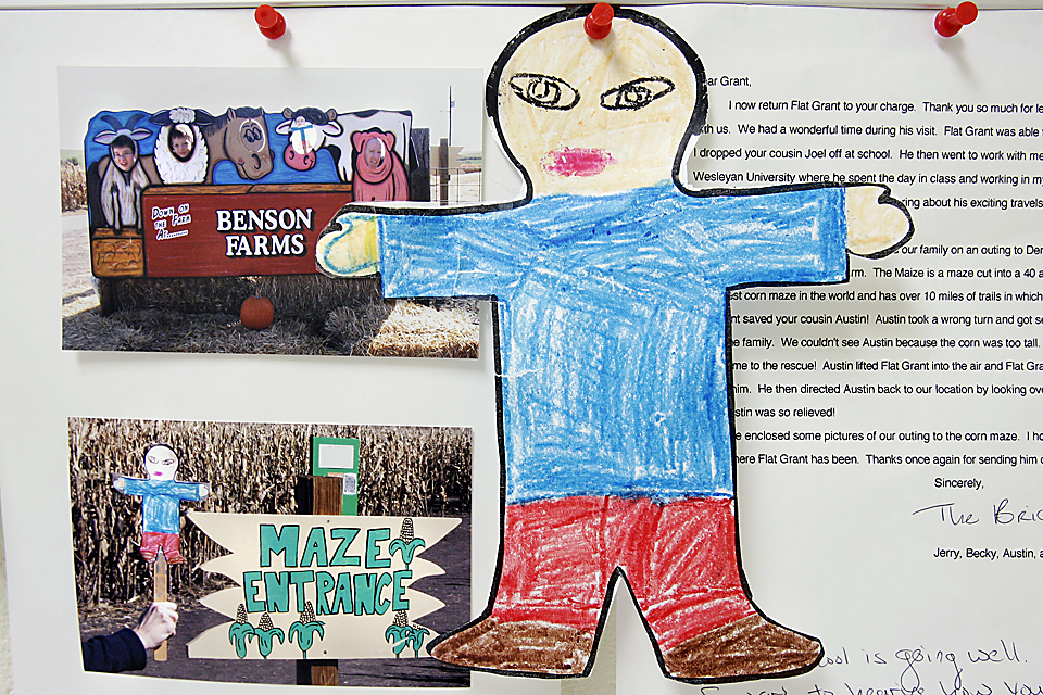 "As a take-off on the book, ""Flat Stanley,"" kids made images of themselves and sent them by mail on an adventure somewhere out of town. Grant sent ""Flat Grant"" to his uncle in Nebraska."