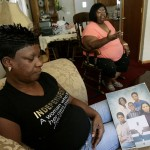 Royce Dudley's mother, Marie (left), with a photo of her children  (Royce, top right and the smaller photo).  Royce's grandmother, Vergie Dudley raised Royce after Marie got involved with drugs.