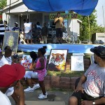 About a month after his release, Amrine spoke at a back-to-school block party in his honor.