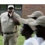 Program director Lloyd Cooper III, one of the adult mentors for the teen Urban Rangers, is a presence during drills.