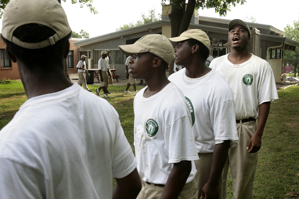 Urban Ranger Markese Gunnels, 16, right, calls out during cadence.