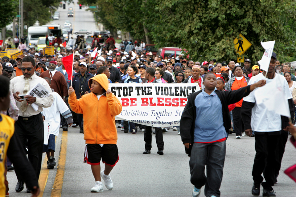 About 3,000 concerned citizens marched north on Prospect Avenue from 39th Street to Linwood Boulevard during A Call to Oneness weekend.  The rally was organized by local clergy in response to a recent wave of homicides in Kansas City.