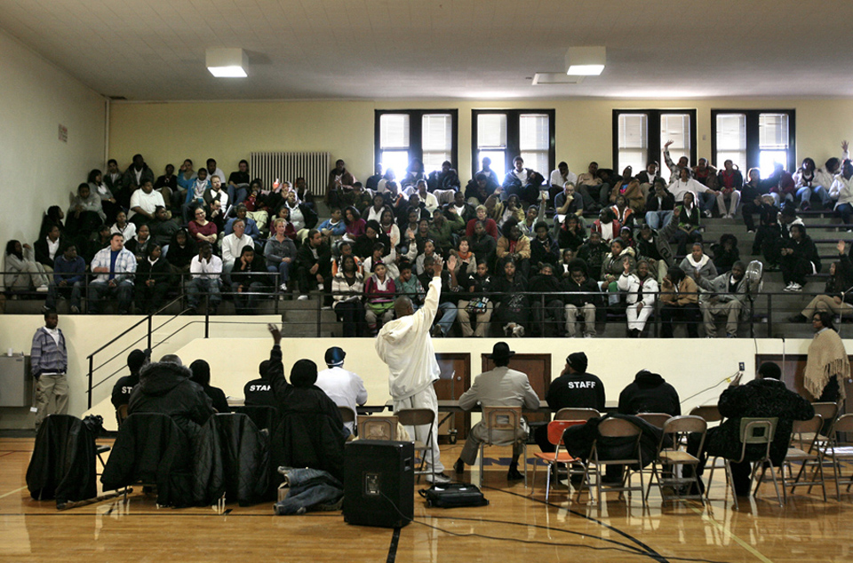 Andre Thurman with Aim4Peace speaks to students at DeLaSalle Education Center.  Former gang members, ex-convicts and others with Aim4Peace, are reaching out to students.  Part of the message was that because of their former lifestyle, they feel responsible for helping the youth now.