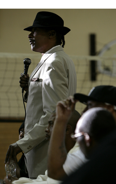 "Angelo ""Barefoot Pookie"" White, a founding member of the LA Crips also spoke to students at DeLaSalle."