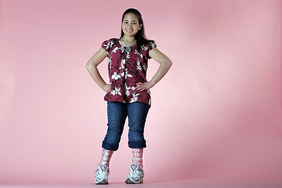 "JASMYN SLOAN, 13. ""When people look at me, I don't know what goes through their minds. Maybe, 'I wonder what she can't do.' They may notice my leg braces and see that I'm smiling anyway. They may wonder why I'm so happy when I'm in this situation."""