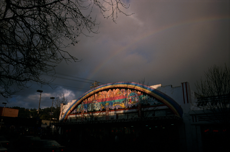 Rainbow over Amoeba Records in Berkeley, California.