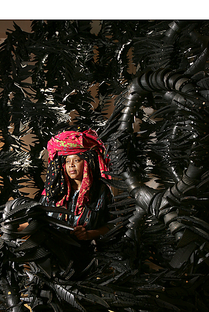 Chakaia Booker uses found rubber - primarily from bikes, cars and farm equipment - to form sculptures.