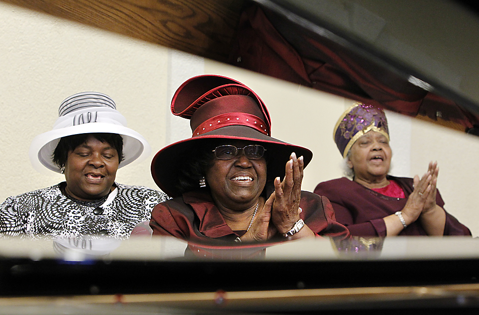 Women of the Church of God in Christ denomination are known for their hats.  Many colorful and ornate hats can be seen at Boone Tabernacle Church of God in Christ on Sundays.