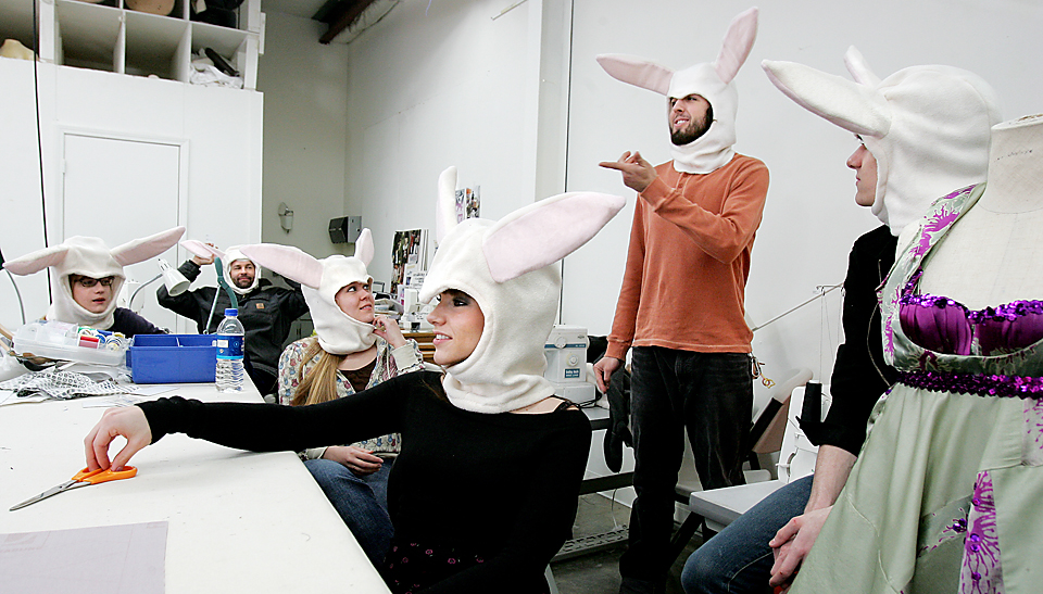 Philip Gresham and classmates at the Kansas City Art Institute don rabbit heads to demonstrate the 'occasional rabbit suit' impromptu aspect of an upcoming fashion show and performance fundraiser.