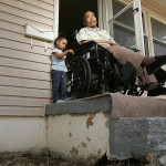 Odie Curry of Kansas City has been waiting a year for a wheelchair ramp.  When he needs to leave the home, his daughter said it takes two men to carry him down the steps.