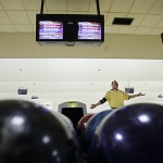Ron Deathrage reacts to his try for a spare at the International Gay Bowling Organization's biennial tournament in Kansas City in 2006. Deathrage was one of the pioneers of gay bowling leagues in Kansas City.