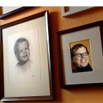 Dan Magnin has created a family history gallery on the walls of his staircase. Magnin's baby photo (left) used to hang in his childhood home.