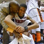 Georgetown (Ky.) College assistant coach Ray Valentine (left) congratulates Montavious Marc after the team won the NAIA championship.  Georgetown beat Southwestern Assemblies of God University 88-62 in the NAIA Division 1 men's national championship at Municipal Auditorium in Kansas City, Missouri.