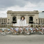 Racers go past Union Station during the Tour of Missouri in 2009.