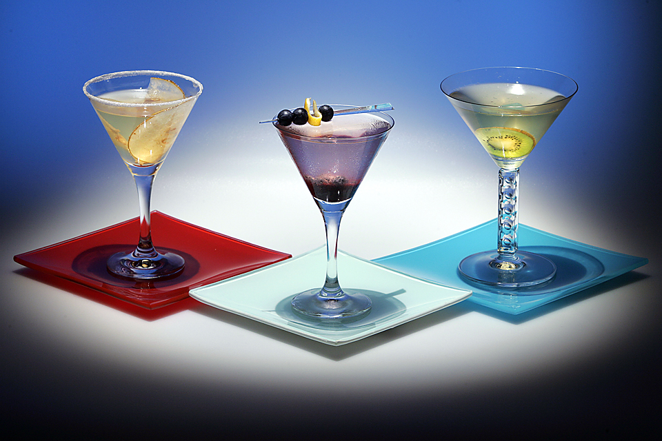 Wine cocktails.  From left, Asian Pearsuasion, Signature B, Kiwitini.